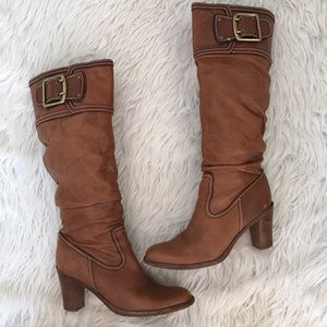Coach Tan Merridth Leather Heeled Buckle Boots